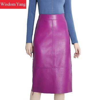 Autumn Black Purple Real Genuine Leather Skirts  Sheep Skin Womens Wrap Skirt High Waisted Midi Pencil Party Sexy Ladies Skirt darkinlove women gothic skirt butterfly embroideried high waisted sexy lace hem maxi dovetail wrap party skirt
