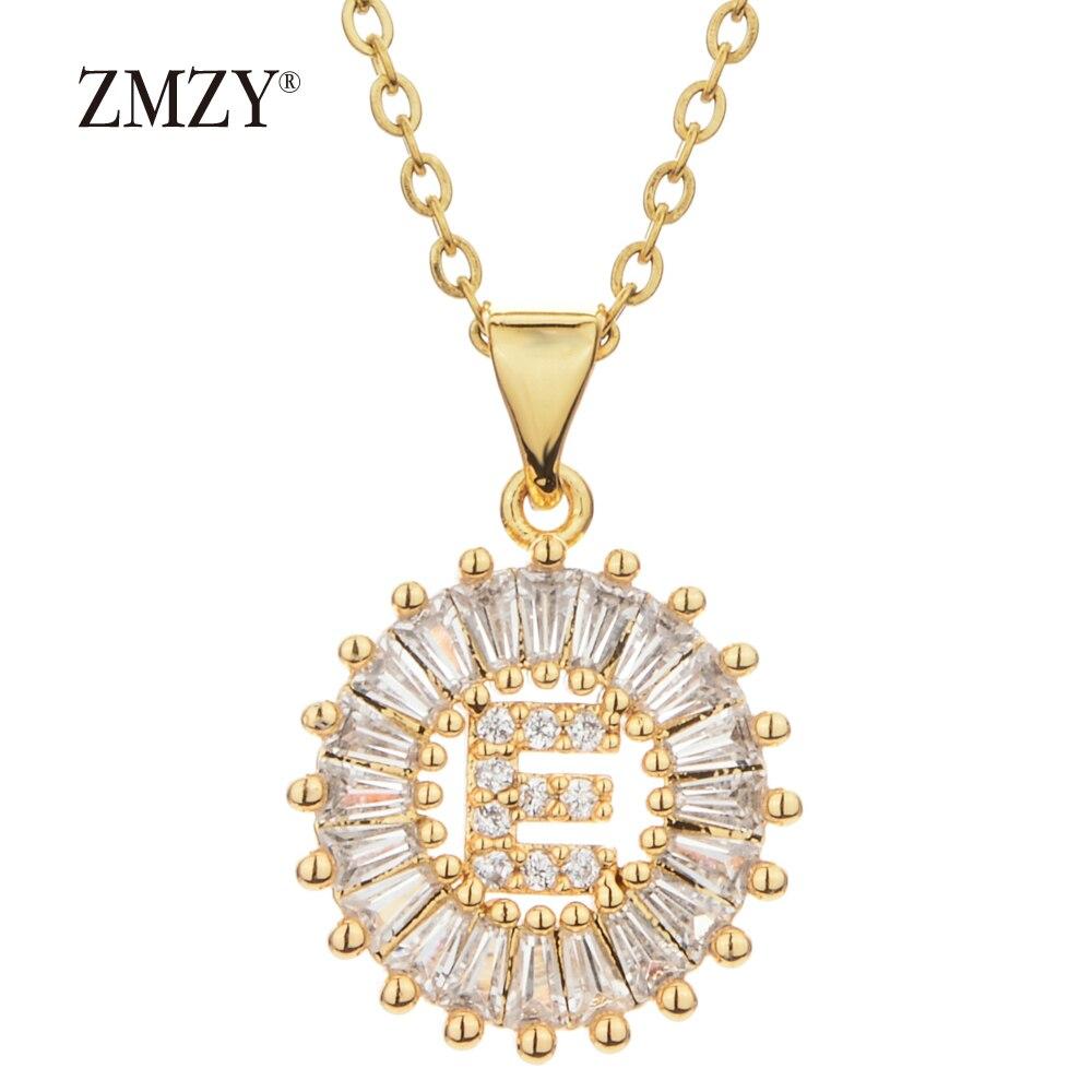 Image 3 - ZMZY 26 шт./лот оптовая продажа много массовый выпуск A Z  ожерелье с буквенными подвесками цепочка из нержавеющей стали ожерелье  CZ Кристалл Золотой цвет кулонОжерелья с подвеской