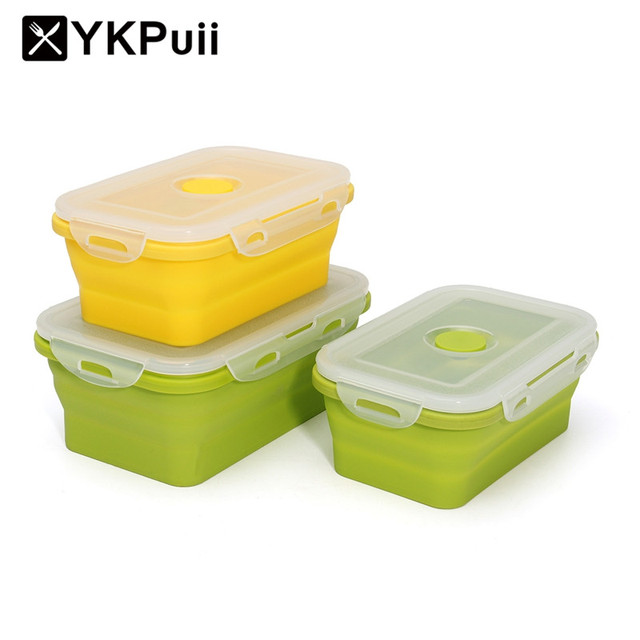 YKpuii Silicone Collapsible Portable Lunchbox Bowl Bento Boxes