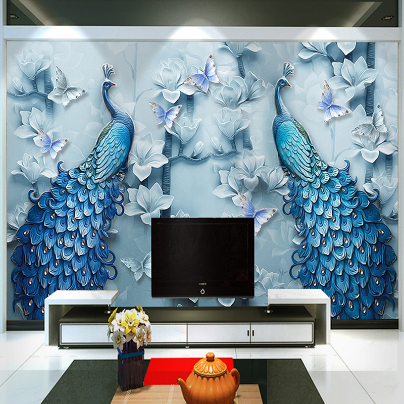Chinese Style 3D Embossed Blue Peacock Oil Painting Mural Wallpaper Living Room TV Sofa Hotel Background Wallpaper Classic Decor