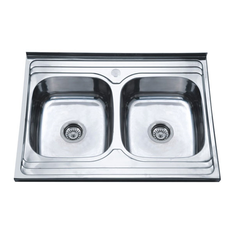 Kitchen Sink 8060B Stainless Steel With Overflow Bathroom Basin Strainer Shower Drain Manual stainless Double Trough Big Wash 2x new stainless steel chrome bathroom bath sink vessel basin overflow waste drain drainer