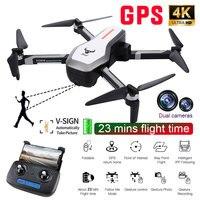 RC Дрон GPS Wi Fi FPV системы 2 к Drone двойной камера бесщеточный складной Квадрокоптер HD жест вертолет оптического потока позициониро