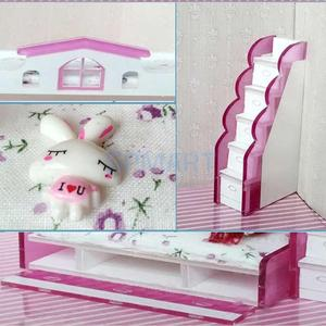 Image 3 - 1/12 Scale Dollhouse Miniature Double Bunk Bed Model for Dolls House Bedroom Furniture Life Scenes Decoration Room Accessory #2