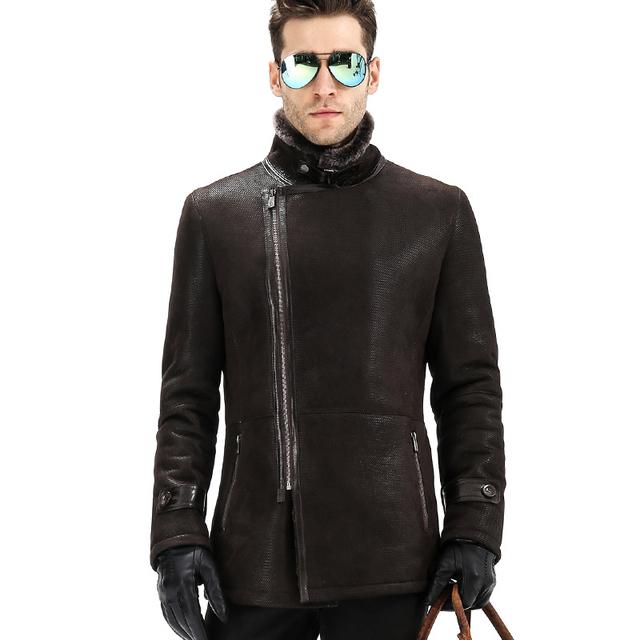 2015 la nueva sección larga para hombre de piel de piel de oveja de cuero de hombre chaquetas hombres abrigo de piel