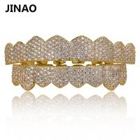 JINAO Gold Silver Color Iced Out Micro Pave Cubic Zircon Teeth Grillz Top Bottom Tooth Caps