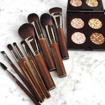 Luxury Vintage 9Pcs Make up Brushes Set Natural Wood Powder Blush Bronzer Blender Eyeshadow Makeup Tool Kit with Bag 1