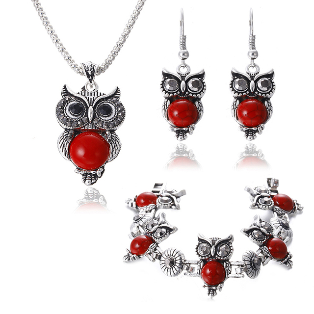 Silver Plated Vintage Owl set 1