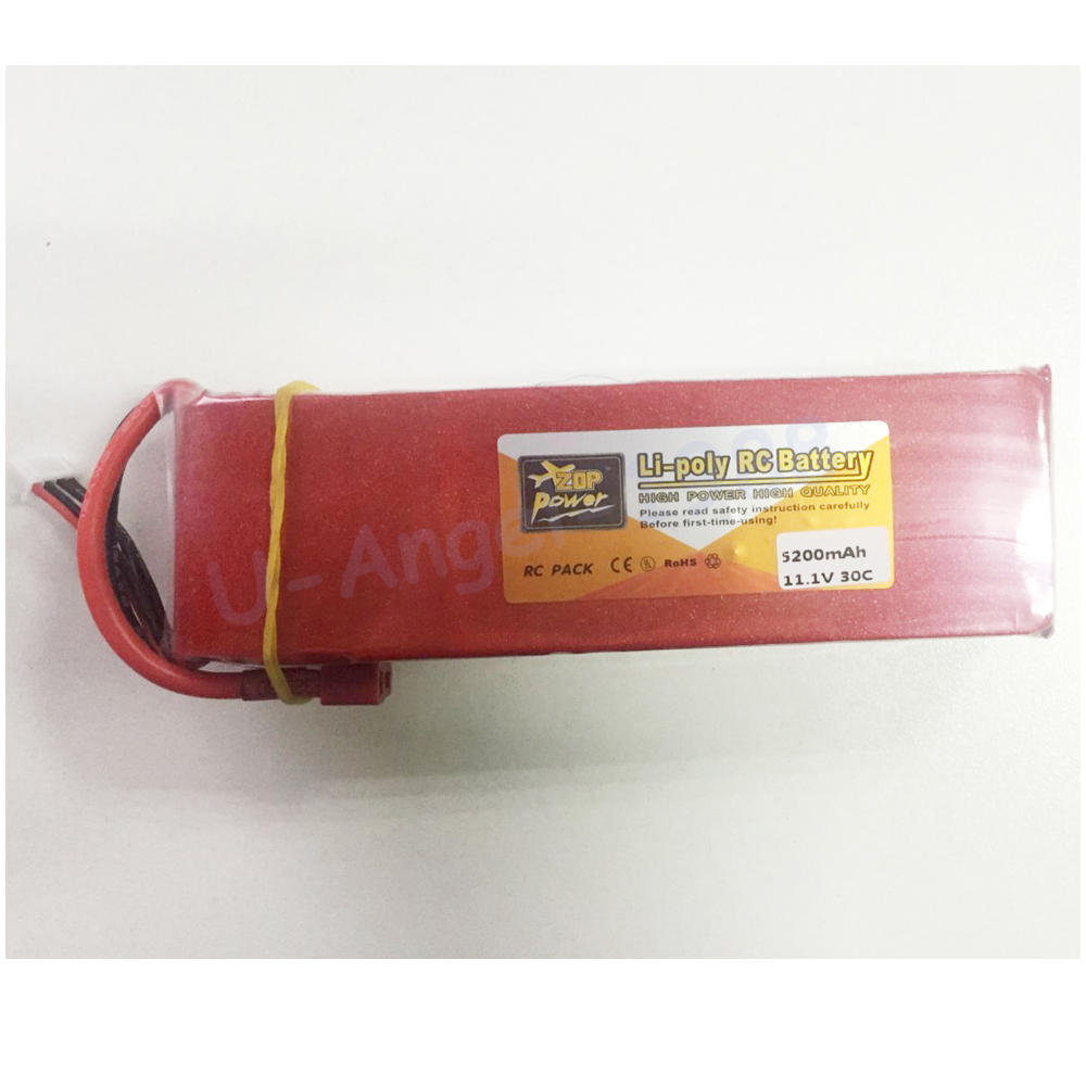 1pcs Zop Power lipo battery 11.1V 5200mAh 30C 3S LiPo Li-poly Battery T-Plug For RC Helicopter Airplane 2016 lastest hot ge power 11 1v 74000mah 30c 3s 3cells 11 1volt rc lipo li poly battery skt fpv drone support free shopping