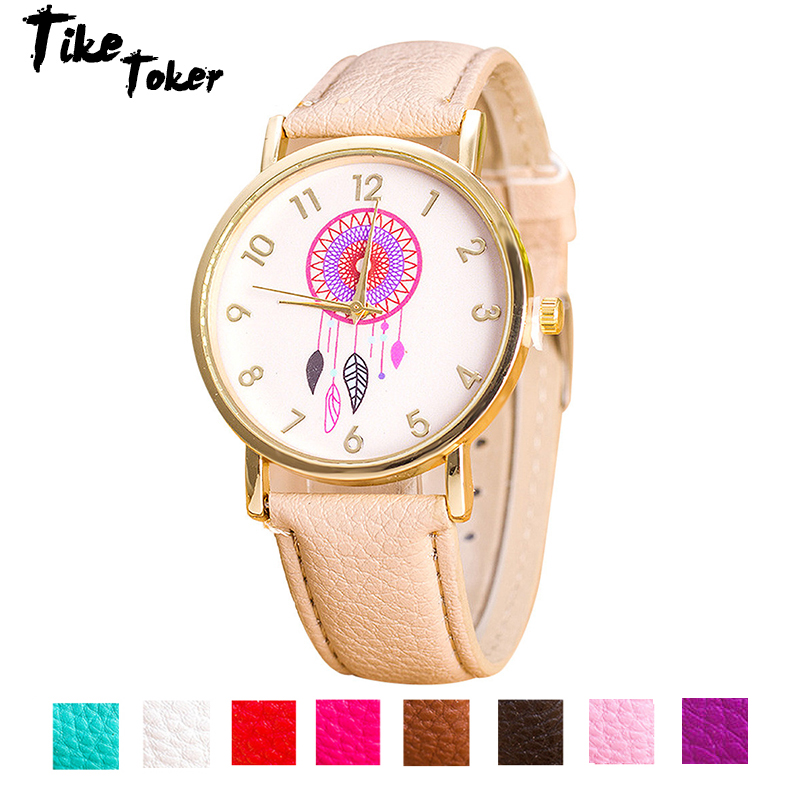 TIke Toker,Fashion Women Watches Casual Dress Dreamcatcher Pattern PU Leather Band Quartz Wrist Watches Relogio Feminino Hombre