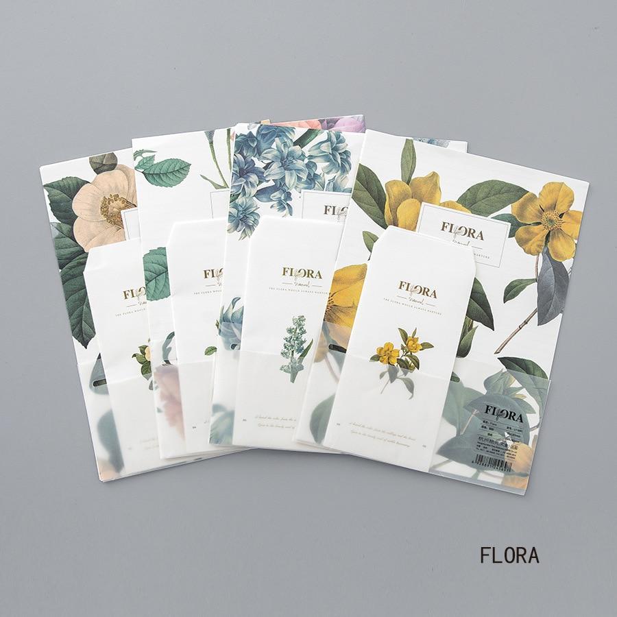 9pcs/Set 3 Envelopes+6 Writting Paper Flora Flowers Series Envelope For Gift Stationery School Supplies