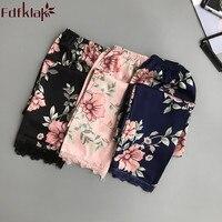 Pantalones de casa para mujer, ropa de dormir, salón de pijamas, primavera-verano, negro/estampado rosa, Fdfklak, 2020