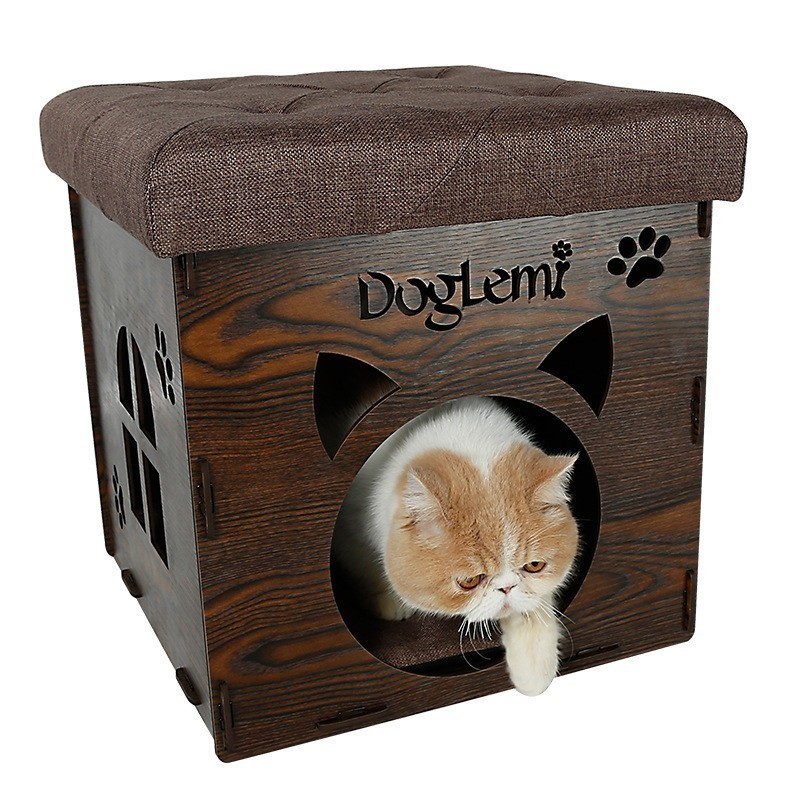 Cat House Foldable Home Leisure Stool Washable House For Cat Pet Summer Keep Warm Storage Stools With Cotton Pad Load 150kg 翻轉 貓 砂 盆