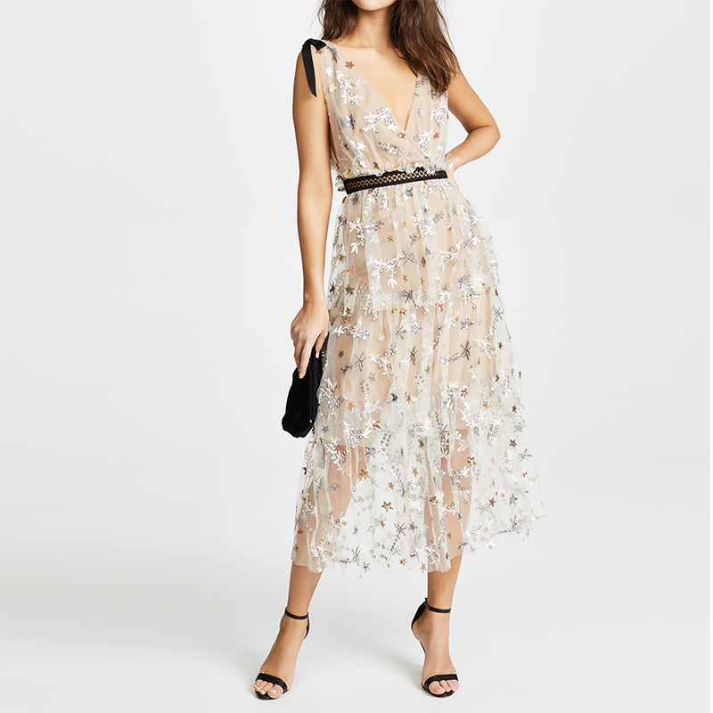 Self portrait dresses 2018 women v-neck diamonds and star embroidery mesh pleated long dress summer sweet casual dress female mesh bow and cuff portrait tee