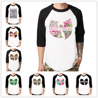 WU TANG CLAN Flower Rap Hip Hop Music Baseball T Shirt 3 4 Sleeve Raglan Tee