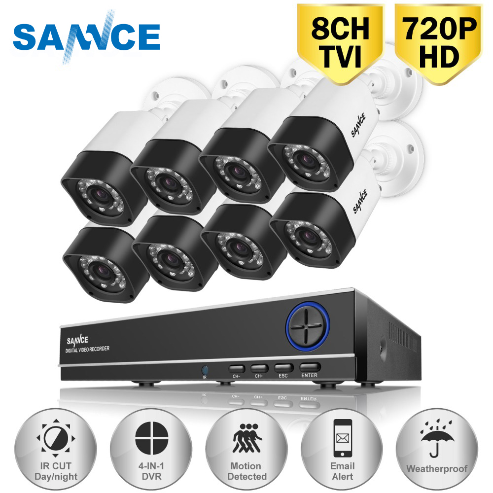SANNCE 8PCS 1200TVL 720P HD Outdoor CCTV Security Camera System 1080N Home Video Surveillance DVR Kit 8CH 1080P HDMI Output sannce hd 8ch 1080n 720p cctv system hdmi ahd dvr 4pcs 1200tvl ir outdoor night vision security camera video surveillance kit
