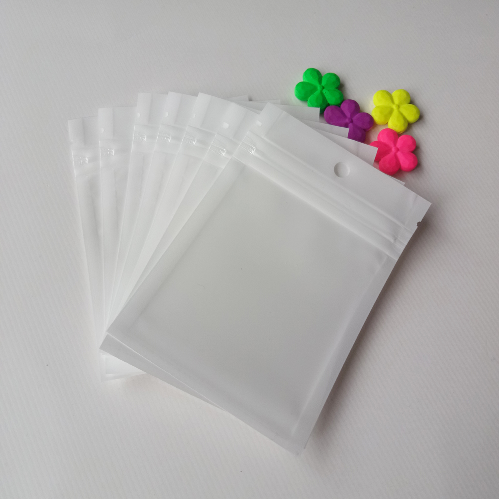1000pcs 6*10cm White/Clear Self Seal Zipper Plastic Packaging Poly Bag Pearl Film Ziplock  Jewelry Bags Package With Hang Hole