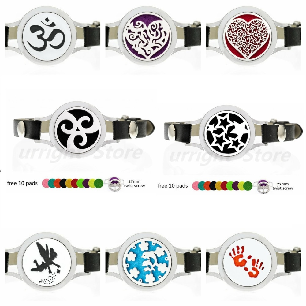 Pu Leather Stainless Steel Aroma Essential Oil Diffuser Locket Bracelet+10pads Fashion Jewelry Health & Beauty
