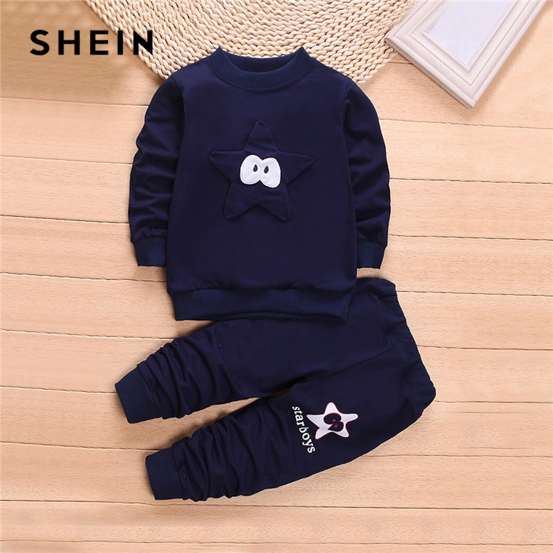 SHEIN Kiddie Navy Toddler Boys Cartoon Embroidered Top And Pants Clothes Set Spring Long Sleeve Casual Boy Kids Suit puff sleeve crop top and wide leg pants set