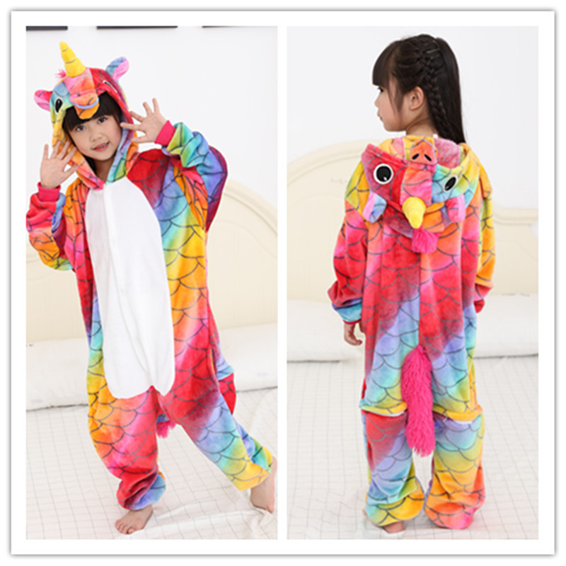New Arrival Winter Childrens Flannel Boys Girls Narwhal Pajamas Kids Cute Animal Anime Cartoon Costume Sleepwear Onesies