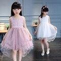 kids girls summer lace dress 2017 new baby girls fashion clothing big virgin princess dress embroidered 4/5/6/7/8/9/10/11/12/13