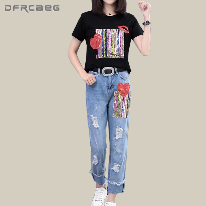 4XL Plus Size 2 Piece Summer Sequins Shirt+ Denim Pants Set Women 2018 Fashion Street Short Sleeve Top And Jeans Clothing Set