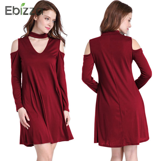 0bc0e64b73e492 Ebizza Sexy V-ausschnitt Halfter Kleid Schulterfrei A-linie Strand Casual Kleid  Langarm Rüschen