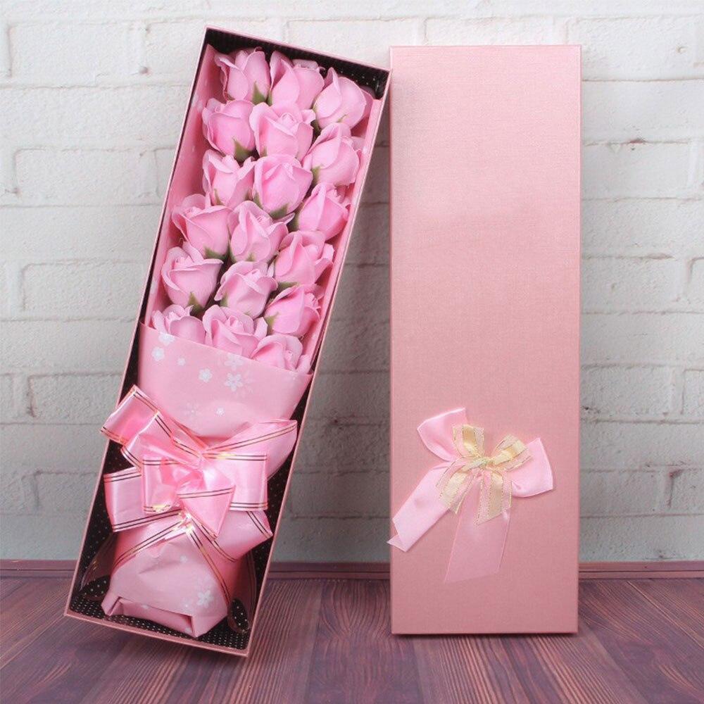 Мыло в Форме Розы вечерние подарочные коробки 18 шт. украшение дома ароматизированный декор в виде цветка розы День матери День святого Валентина - Цвет: pink