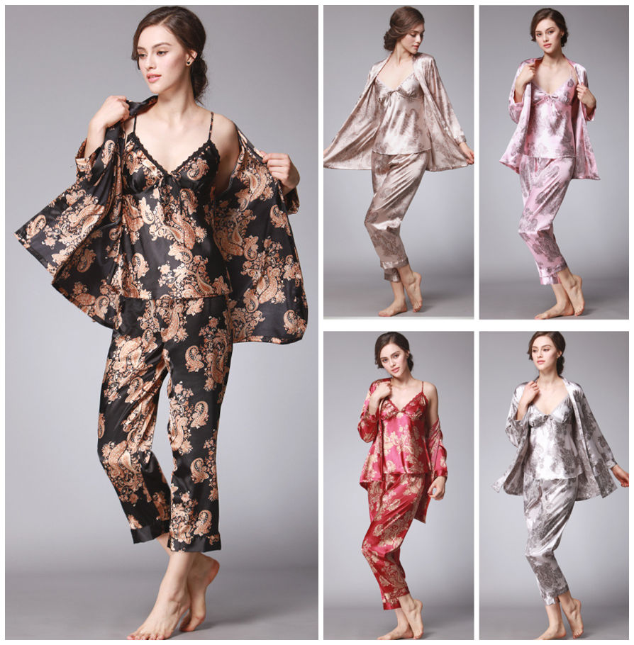 3 Pieces Women Lady Silk Satin Pajamas Pyjama Set Sleepwear Nightwear Loungewear