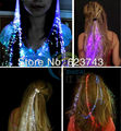 10PCS Free Shipping Colorful Flash LED Braid,glowing flash light up LED Hair Extensiones de cabello for Party by optical fiber