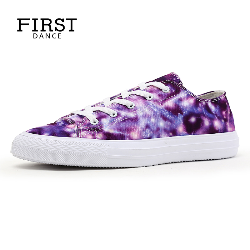 FIRST DANCE Fashion Printed Purple Shoes Women Walking Classic Canvas Shoes Ladies Purple 3D Casual Students Shoes Female Flats vintage embroidery women flats chinese floral canvas embroidered shoes national old beijing cloth single dance soft flats