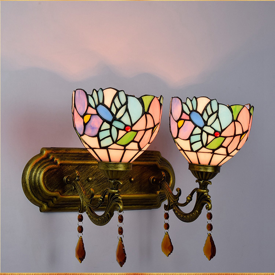 1/2 light source European-style iron bedroom wall lamp color Tiffany retro garden home improvement hotel crystal wall lamp retro european style decorative iron wall clock 1 x aa