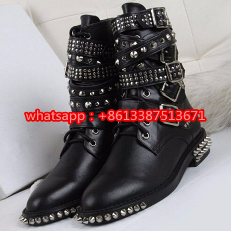 2016 New Fashion Studded-Strap Rangers Ankle Boot Lace Up Strappy Buckle Belts Military Boots Ankle Gothic Punk Shoes Women gothic studded bra