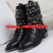 2016 New Fashion Studded-Strap Rangers Ankle Boot Lace Up Strappy Buckle Belts Military Boots Ankle Gothic Punk Shoes Women