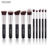 Docolor 10Pcs Makeup Brushes Set Synthetic Hair Foundation Eyeshadow Cosmetic Brush Professional Lip Powder Make Up