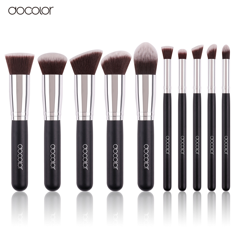 Docolor 10Pcs Makeup Brushes Set Synthetic Hair Foundation Eyeshadow Cosmetic Brush Professional Lip Powder Make Up Brush docolor 10pcs makeup brushes set synthetic hair foundation eyeshadow cosmetic brush professional lip powder make up brush