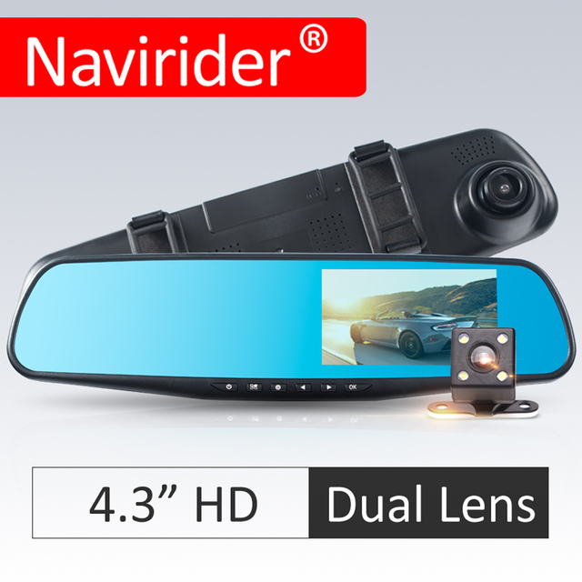 Navirider 4.3inch Rearview Mirror car dvr camera dual lens 1200W image 1080P HD 170 degree wide angle auto video audio recorder
