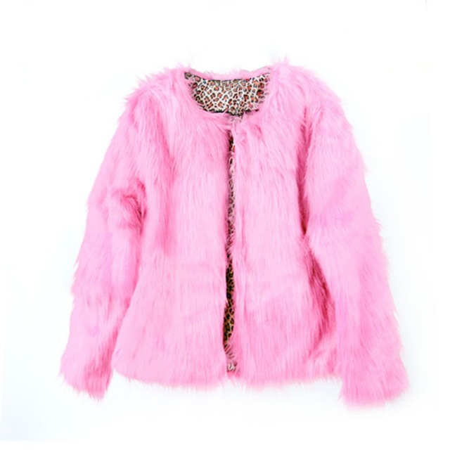 2017 Inverno Nova Moda Das Mulheres Casaco De Pele Grossa Quente O Pescoço Coloridas das senhoras da Pele Do Falso Coats Jacket Streetwear Rosa Plus Size S-XL
