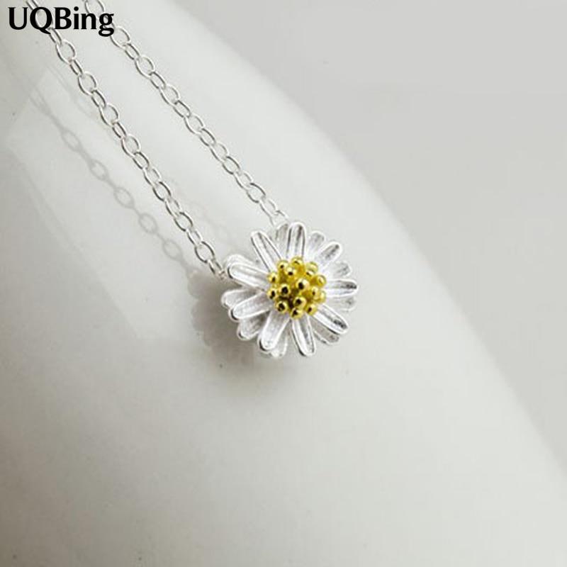 Pulsuz Göndərmə 925 Sterling Gümüş Kolye və Boyunbağı Daisy Boyunbağı Zərgərlik Kolları de Plata