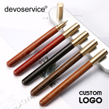 Custom Logo Solid Wood Sandalwood Brass Pen Ballpoint Pen High-end Business Gifts Signature Pens Laser Engraving Stationery Gift