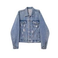 Erkekler Vintage Sıkıntılı Denim Ceket Kaban Sonbahar Streetwear Moda Bırakılan Omuz Marka Denim Ceketler M-2XL 2017 Yeni