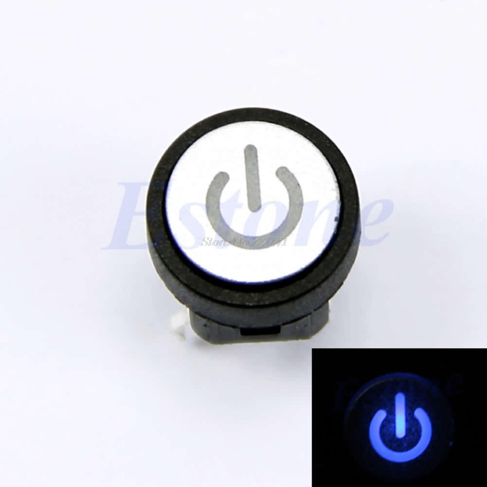 Blue Led Light Power Symbol Momentary Latching Computer Case Switch Push Button Dropship