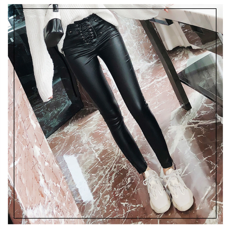 Ladies casual PU black pencil pants sashes slim fake zippers trousers made of high grade fabrics keep warming PU pants S M L XL