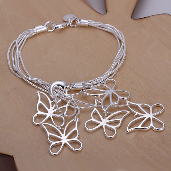 Five Butterfly <font><b>19cm</b></font> <font><b>bracelets</b></font> Women's Jewelry 925 stamped silver plated bangles H027 gift Pouches Free image