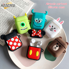 KISSCASE Silicone Protective Case For Earphone Cute Cartoon Bag Headset Earbuds Charging Cases Box