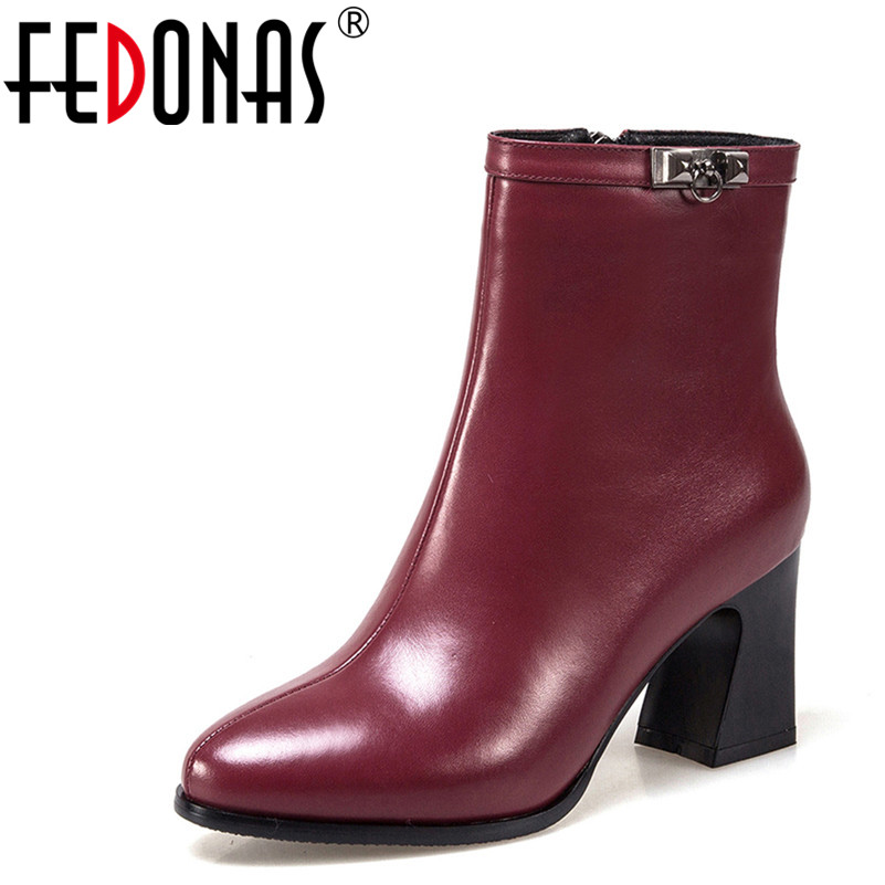 FEDONAS Top Quality Women Genuine Leather Ankle Boots Side Zipper Warm Short Martin Shoes Woman High Heels Motorcycle Boots цена