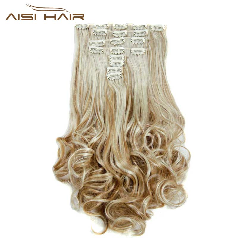 I's a wig 16Colors Clip in Hair Extensions 8pcs / set 22inch 55 cm Largo Hairpiece ondulado resistente al calor