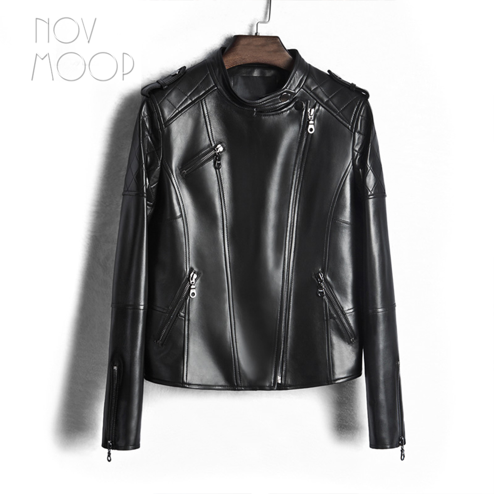 US $230.0 |Schwarz echtes leder jacken frauen schaffell lamm gesteppte motorrad biker jacke mäntel chaqueta mujer jaqueta de couro LT1610 in Schwarz