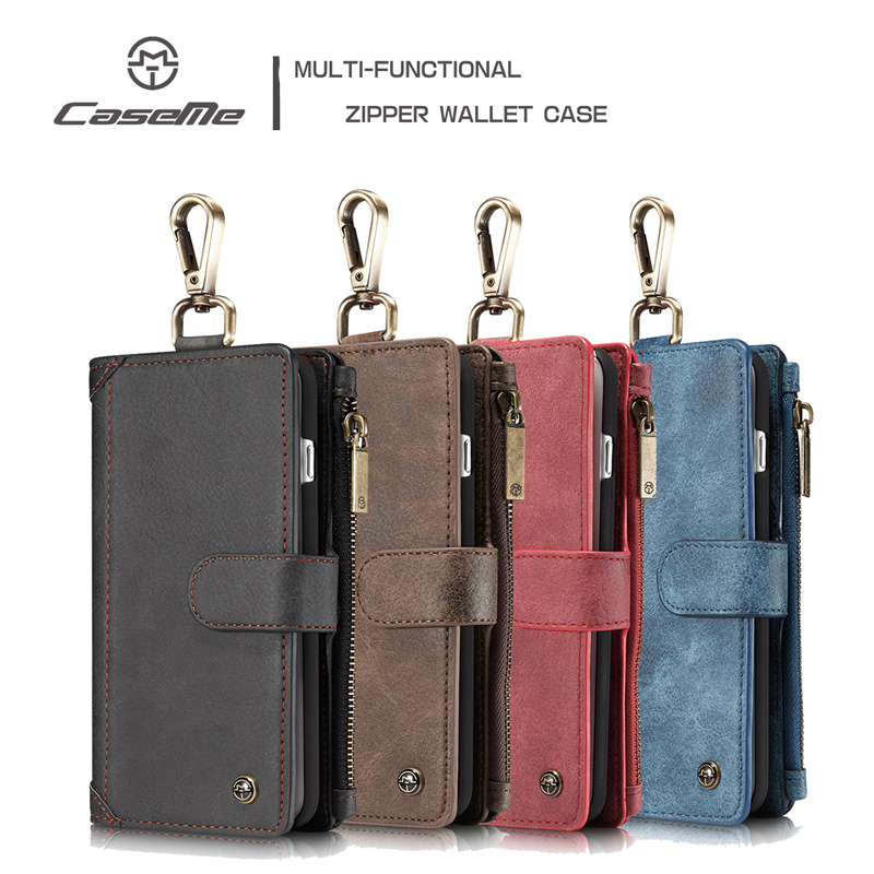 Original Caseme For iPhone 6 6S 7 8 Plus for Samsung S8 Plus Leather Case Metal Buckle Zipper Wallet Magnetic Phone Back Cover