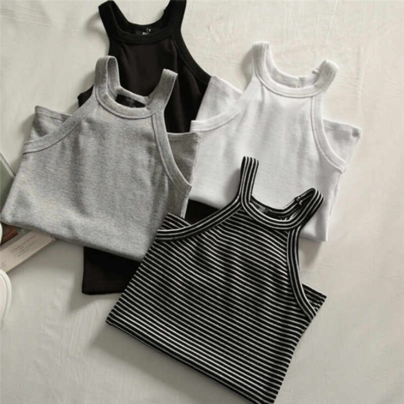 Basic Solid T shirts Women Slim Halter Neck Off-shoulder Camisole Tops Tees Summer Female Tanks Sleeveless