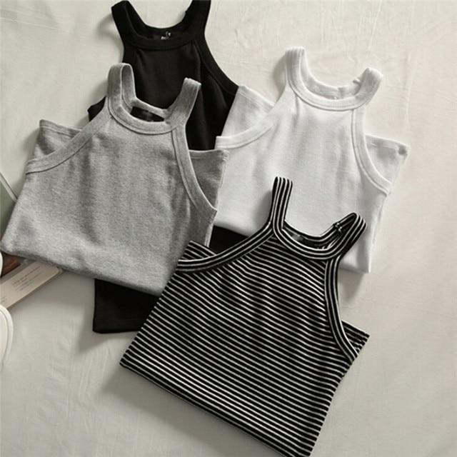 기본 솔리드 t 셔츠 여성 슬림 홀터넥 넥 오프 숄더 캐미솔 탑스 티셔츠 여름 여성 탱크 민소매